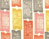 SALE Eric and Julie Comstock, 2wenty Thr3e, Tickets Parchment Fabric - By the Yard