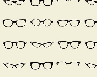 Riley Blake Designs, Geekly Chic, Geekly Glasses Off White Fabric - Half Yard