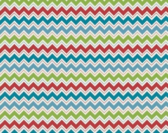 Doohikey Designs, Hooty Hoot Returns, Hooty Chevron Blue Fabric - REMNANT Size 27 Inches by 44 Inches