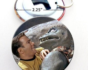 Gorn and Captain Kirk Bottle Opener 2.25 Button with Keyring