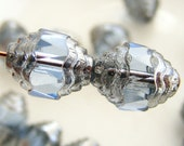 Czech Glass Cathedral Beads Wavy 10x8mm Fire Polish Sapphire with Silver (Qty 4) SRB-10x8FP-CW-SAPP-S