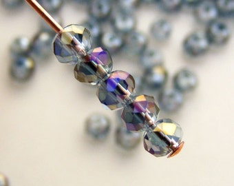 3x2mm Faceted Rondelles Crystal Beads Two Tone Dark Violet Abacus (Qty 25) PH-3x2R-DV