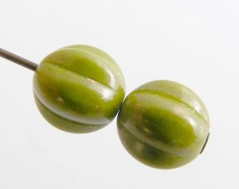 Czech Glass Melon Beads 8mm Round Opaque Olive Marbled Gold (12pk) SI-8ML-OOMG