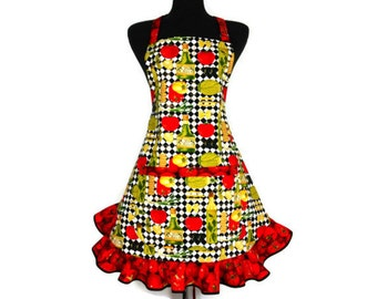Italian Kitchen Apron for Women , Olive Oil and Pasta on check with Tomato print Ruffle , Retro Style Apron , Pin Up Girl Fashion