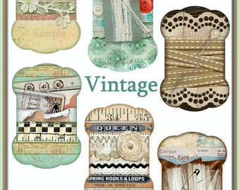 INSTANT DOWNLOAD Vintage Sewing Trims Thread Winder Diecuts for Tags, Labels, Magnets, Crafts Digital Printables