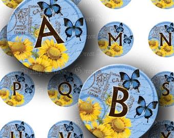 INSTANT DOWNLOAD Digital Collage Sheet Blue Vintage Postcard Sunflowers Butterflies Alphabet 1 One Inch Circles for Pendants Magnets (C163)