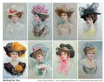 WAITING FOR YOU Vintage Postcards - Instant Download Digital Collage Sheet