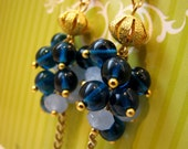 Pale and Vibrant Blue Czech Glass Earrings, AZZURRO, Medium Clusters, Sky Blue, Mignight Blue, Gold Chain, French Hook, Gold Tone Accents