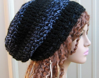Nightlight slouchy beanie dread tam hat wool blend black gray lavender, slouchy hat