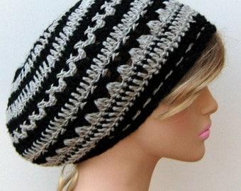 Summer hemp beanie, Small tam beret hemp wool soy black gray slouchy beanie hippie hat