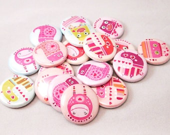 20 Colorful Monsters Buttons