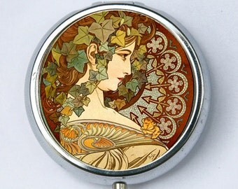 Art Nouveau goddess Ivy PILL CASE pillbox pill holder Girl  mucha Edwardian Era