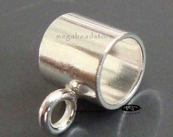 5 pcs Charm Holders Bail 925 Sterling Silver Tube Slider  Bead F288