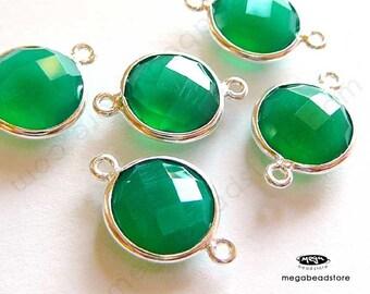 2 pcs 10mm Green Onyx Bezel Green Gemstone Sterling Silver 2 loops F391S