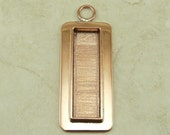 Large Designer Rectangular Pendant Bezel Blank for Photo Jewelry, Mixed Media, Ephemera and Assemblage - Solid Copper