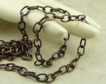 TierraCast 9x6mm Embossed Cable Chain - Copper Plated Brass American Made - I ship Internationally 0325
