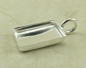 1 Petite Small Rectangle Pendant Bezel Blank > Photo Jewelry, Mixed Media, Ephemera and Assemblage - Silver Plated Brass