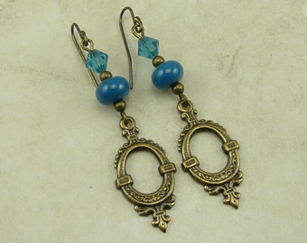 Steampunk Romantic Vintage Looking Lampwork Bead & Swarovski Earrings - Teal Aqua Blue Green Cerulean - Brass Ox French Ear Wires