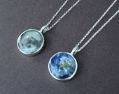 moon pendant necklace | earth pendant necklace | sterling silver necklace | gift for her