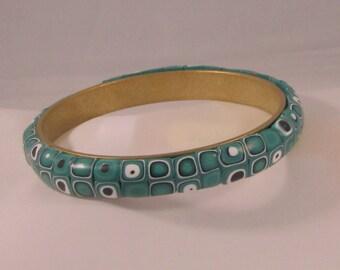 Brass and Polymer Clay Green, Black, White Bracelet Bangle