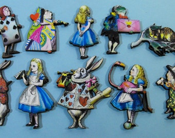 Alice in Wonderland Collection - 10 Laser Cut Wooden Pieces