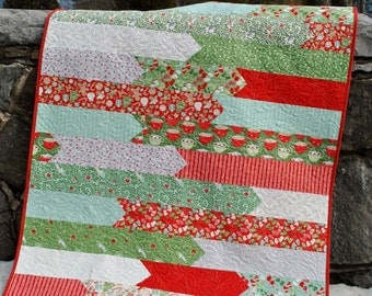 ON SALEHandmade Patchwork Quilt, Large Lap Quilt, Christmas, Winter coverlet