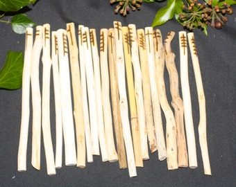 Long Celtic Tree Ogham staves made with Corresponding woods with Bag and Information for Divination - Pagan, Wicca, Witchcraft