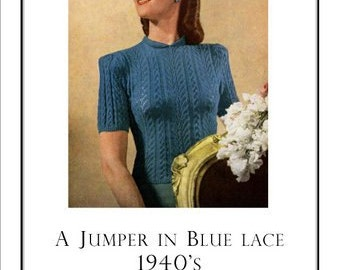 Blue Lace Sweater Vintage Knitting Pattern Pdf  Dainty Open work Pattern Instant Download
