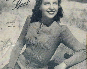Sweaters Cardigans Vintage Knitting 1940's Sunglo Pattern Book No 83  pdf instant download