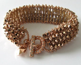 Crystal Cuff Bracelet, ON SALE was 115 now 95, OOAK, Rose Gold, Rose Gold Rhinestone Clasp, Beadweaving, Beaded Jewelry, Beaded Bracelet