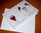 CRAZY Love Obsession Romantic Card Lover  5x7 Art by Agorables bringing U a Horror filled Valentine's Day