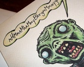 Angry ZOmbie Happy Birthday Card Gift  5x7 Greeting Card by Agorables Rulers of the Undead