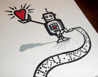 Valentine Love Robot Anniversary old school Nerdy Card Romantic  5x7 Greeting Card Blank inside by Agorables the Undead