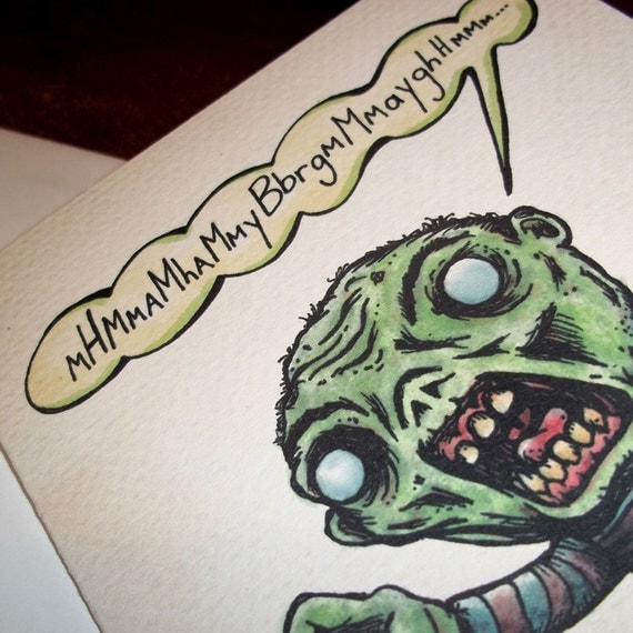 Items Similar To Angry ZOmbie Happy Birthday Card Gift 5x7 Greeting Card By Agorables Rulers Of