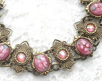 Raindrops on Roses Bracelet - Rosy Pink Floral Vintage Glass Bracelet Antiqued Brass Bracelet