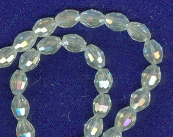 4x6mm Faceted Clear White Glass Oval Beads 50 Beads