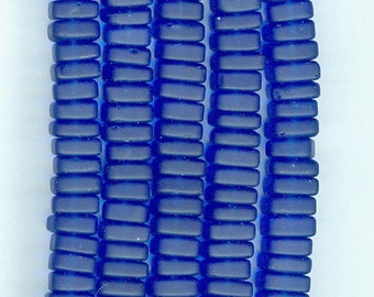 Sea Glass Royal Blue 8mm Square Spacer Beads