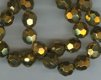8mm Gold Colored Faceted Round Acrylic Beads