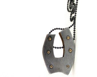 Oxidized Steel and Oxidized Brass Riveted Pendant Necklace - Gesture