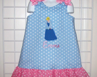 Light Blue Polka Dot Cinderella Applique Monogram Dress with Pink Polka Dot Ruffle - Princess Cinderella birthday party dress - school