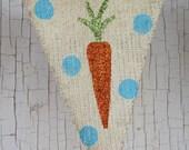 Easter Carrots Glittered Burlap Garland Banner