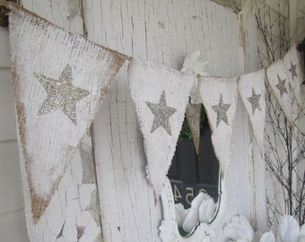 Tarnished Silver Stars Painted Burlap Banner, Patriotic, 4th of July