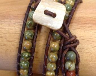 Jasper and Leather wrap bracelet