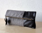 Leather Clutch in Dark Chocolate Italian Leather and European Wool - Indie Patchwork Series