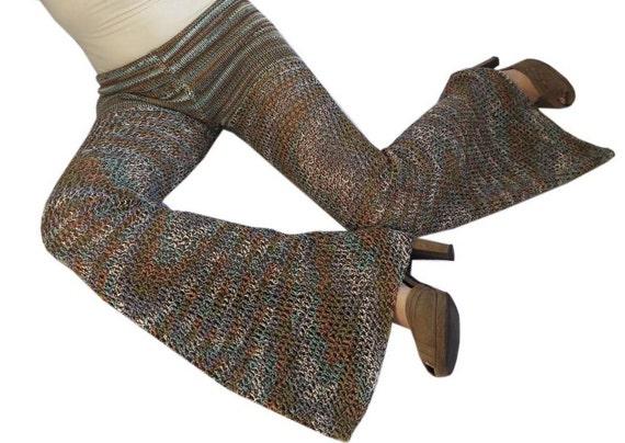 Reserved for Bianca - Desert  Trail Cotton Crochet Pants / Bell Bottoms / Flared Leggings
