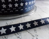 Yankee Doodle Dandy.....White Stars on Navy Satin  3/8 inch  ribbon