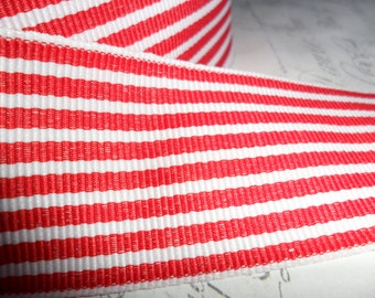 1.5 inch wide Twill Red,and  Whtie  Woven Striped Ribbon Trim