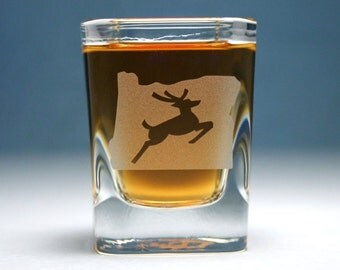 Oregon Stag shot glass - square etched glass - made in Portland, Oregon
