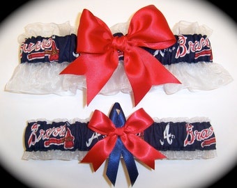 Atlanta Braves Wedding Garter Set    Handmade Keepsake and Toss Bridal rn1