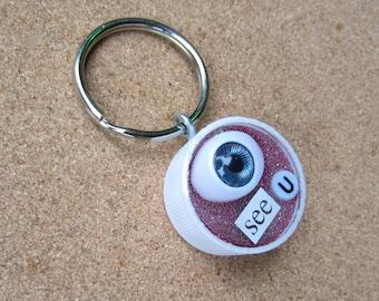 Eye SEE U - Upcycled Bottle Cap Keychain